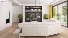 gotowy projekt domu Z378 – aranżacja wnętrz, Parterowy dom z garażem dwustanowiskowym. Design Case, Building A House, New Homes, Lounge, Couch, Furniture, Home Decor, Portugal, Chair