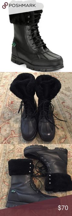 """LRL Women's Quinta Shearling Lined Boots EUC Beautiful leather winter boots!  Genuine Shearling around top but faux fur lining. Waterproof. 6"""" shaft. Only worn once or twice. No flaws. Lauren Ralph Lauren Shoes Winter & Rain Boots"""