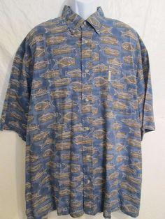 Columbia Sportswear * Hawaiian *Shirt Short Sleeve Blue Fish Print Men's Sz. XXL #Columbia #Hawaiian