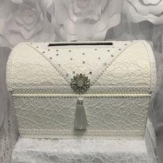 treasure chest money box/wedding card box/ivory wedding card box/envelope holder/wedding box/vintage wedding by iweddingworld on Etsy