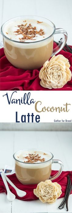 Vanilla Coconut Latte - Brewed with fresh coffee add a splash of coconut. Flavored latte made in the comfort of homemade. Fresh, hot and delicious. Vanilla Recipes, Homemade Vanilla, Coconut Recipes, Coffee Recipes, Bread Recipes, Coconut Latte Recipe, Starbucks Vanilla Latte, Latte Flavors, Alcohol