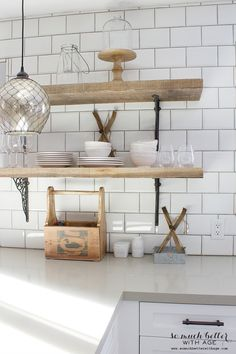 Rustic Industrial Kitchen Shelves | So Much Better With Age - salvaged wood from Southern Accents Architectural Antiques