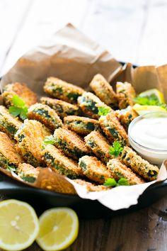 Crisp Zucchini Bites with Garlic Aioli Dip (you have to try these!) @natashaskitchen