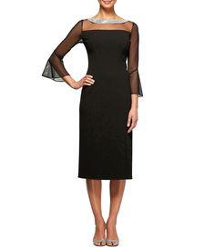 e99f44617d5d Alex Evenings Illusion Mesh Bell Sleeve Crepe Sheath Dress  Dillards Groom  Dress
