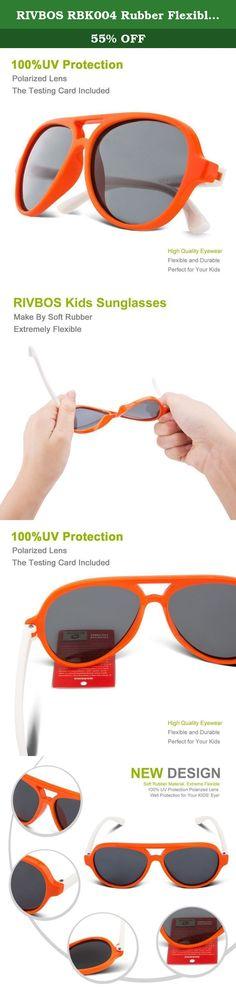 7a865c82118f RIVBOS RBK004 Rubber Flexible Kids Polarized Sunglasses Age 3-10 (Orange).  RIVBOS