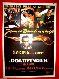 GOLDFINGER 1965 SEAN CONNERY  JAMES BOND AGENT 007 RARE EXYU MOVIE POSTER