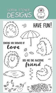 This super cute hedgehog stamp set includes 4 different hedgehogs that are about the same size but in different positions for lots of different scenes. One of them is ready to hold the umbrella that i
