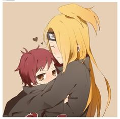 Deidara with little Sasori! Am I the only one who thinks Deidara would be an AWESOME older brother???