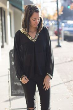 This gorgeous top can be paired with black jeans for a night out! // Amazing Top // $46 // #nightout