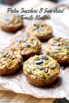 These paleo, gluten free and nut free zucchini muffins are a perfect savoury snack. They are great for kids lunch boxes, full of nutritious ingredients. Paleo Zucchini Muffins, Savory Muffins, Savory Snacks, Paleo Recipes, Whole Food Recipes, Cooking Recipes, Delicious Recipes, Free Recipes, Tasty