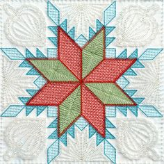 Feathered Star for 2013 EmbroidaBlock of the Month