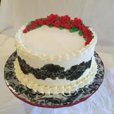 Red and black lace birthday cake.