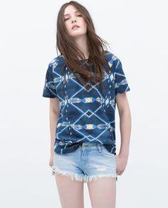 Image 1 of ETHNIC PRINT T-SHIRT from Zara