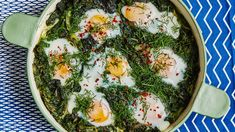 Green Shakshuka from Bon Appetit. Say that three times fast! Watch closely toward the end of the cooking time and remove from oven when the eggs have plenty of wobble left in them for this shakshuka recipe. Egg Recipes, Brunch Recipes, Breakfast Recipes, Breakfast Ideas, Breakfast Casserole, Dinner Recipes, Tailgating Recipes, Protein Breakfast, Kitchen