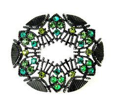 Vintage Black Japanned Green Rhinestone Brooch by jujubee1 on Etsy
