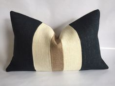 Black, Cream and Natural Burlap Lumbar Pillow Cover by BouteilleChic on Etsy https://www.etsy.com/listing/243339945/black-cream-and-natural-burlap-lumbar