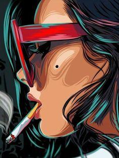 Woman smoking Pop Art Illustration / by Yasin IŞIK Arte Pop Art And Illustration, Arte Pop, Dope Kunst, Ouvrages D'art, Art Inspo, Vector Art, Comic Art, Art Drawings, Art Photography