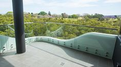 Button fixed curved balustrade Glass Pool Fencing, Pool Fence, Glass Balustrade, Curved Glass, Splashback, Brisbane, Facade, Concrete, Australia