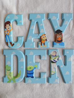 Boys Character Toy Story Woody Buzz Lightyear Mr Potato Head Hand Painted Custom Wooden Wood Hanging Wall Art Nursery Name Letters by SqueaksAndSnowPeas on Etsy https://www.etsy.com/listing/218626802/boys-character-toy-story-woody-buzz