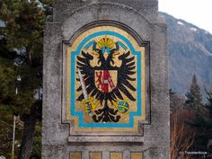 Another way to depict an emblem: A mosaic, seen at a bridge in Merano, Italy. It shows the emblem of the Habsburg family. Germany And Italy, Trieste, Family Crest, Coat Of Arms, Mosaic, History, Bridge, Genealogy, Empire