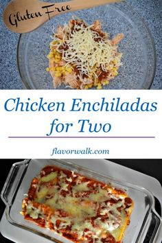 Chicken Enchiladas for Two are packed with Mexican flavor in a small package! Love enchiladas but don't need to feed a crowd, give this tasty recipe a try. Cooking For Two, Easy Cooking, Cooking Recipes, Batch Cooking, Cooking Light, Cooking Ideas, Small Meals, Meals For Two, Recipe For 1