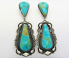 Darryl Becenti Kingman Turquoise Sterling Silver Earrings | eBay