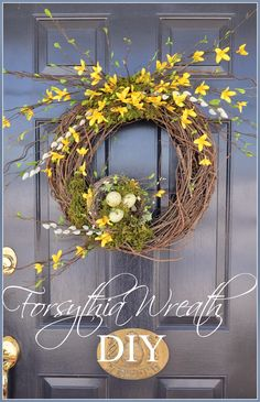 A beautiful wreath to make for your Spring front door complete with a sweet nest! Diy Spring Wreath, Diy Wreath, Spring Crafts, Door Wreaths, Wreath Ideas, Burlap Wreath, Forsythia Wreath, Grapevine Wreath, Willow Wreath