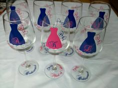 Bridesmaids gift wine glasses 7 hot pink and by WaterfallDesigns