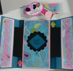 Shutter card inside paisley gatefold/belly band card. These are so cool! Also added Stampin Up die cuts from Flourish Thinlits set. (It's a great set!)