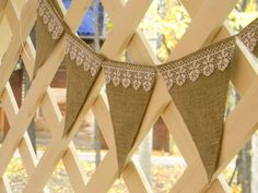 beautiful burlap bunting with lace! Hessian Crafts, Hessian Bunting, Burlap Banners, Bunting Garland, Wedding Flags, Apple Festival, Wedding Decorations, Wedding Ideas, Country Crafts