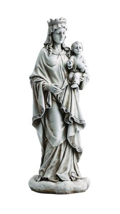 Madonna Queen of Heaven with Jesus Garden Statue. Beautiful Blessed Mother Mary Queen of Heaven figure for patio, garden or memorial area. This marian garden statue is a lovely gift for any Catholic p