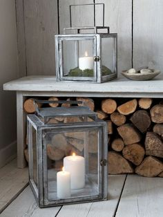 Grey Distressed Lantern Do log surround and lantern in centre. Chunky candle shelf on top Indoor Candle Lanterns, Large Lanterns, Lantern Chandelier, Basement Inspiration, Hurricane Lamps, Wall Accessories, Lounge Design, Mason Jar Candles, Fireplace Design