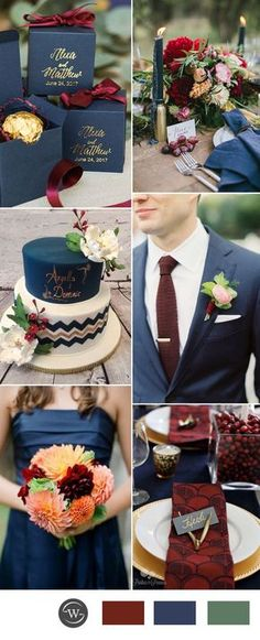 navy blue and burgundy wedding color ideas for 2017 trends