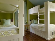 Bunk room in a home in Martis Camp in Truckee designed by Jeffers Design Group I love these colors!,,,,!