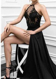 Charming Prom Dress, Sexy Prom Dress,Black Prom Dress,High Slit Evening Dress,Long Evening Dresses by fancygirldress, $159.00 USD