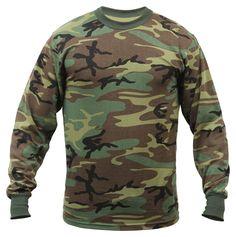 Rothco Long Sleeve T-Shirt, Woodland Camo