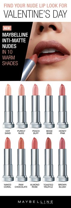 Find your perfect nude lipstick shade just in time for Valentine's Day!  Maybelline's new Inti-Matte Nudes Lipsticks are available in 10 warm nude shades that are flattering for all complexions.  Rock a nude lip with any makeup to complete your date night look.