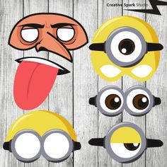 DIY Despicable Me Minions & Gru - Photo Booth Props - Party Printables Pdf Digital File