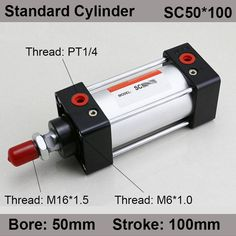 SC50*100 SC Series Standard Air Cylinders Valve 50mm Bore 100mm Stroke SC50-100 Single Rod Double Acting Pneumatic Cylinder #Affiliate