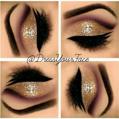 cut crease with gold glitter eye makeup look.