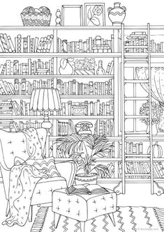 Library - Printable Adult Coloring Page from Favoreads (Coloring book pages for adults and kids, Coloring sheets, Colouring designs) Coloring Pages For Grown Ups, Detailed Coloring Pages, Spring Coloring Pages, Printable Adult Coloring Pages, Flower Coloring Pages, Coloring Pages To Print, Free Coloring Pages, Coloring For Kids, Coloring Books