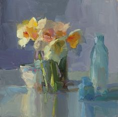 Daffodils, Teacup, and Blue Bottles by Christine Lafuente New York Painting, Still Life Art, Light Painting, Fabric Painting, Daffodils, Flower Art, Art Photography, Artwork, Flower Paintings