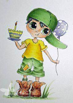Téléchargement instantané numérique Digi Stamps ventru grosse tête poupées anniversaire garçon Bestie Boy par Sherri Baldy