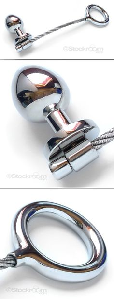 High Tension Cock Ring w/ Anal Plug - For the men who love the feel of cold metal, but yearn for a bit of flexibility we introduce this innovative dual cock ring and anal toy.