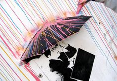 CMYK is a three-dimensional mural created by the Norway-based design collective, Skurktur. Using spray paints, stencils, and a variety of mixed media, the Magazine Design, Art Banksy, Street Tattoo, Umbrella Girl, Modern Metropolis, View Image, Art World, Three Dimensional, Stencils