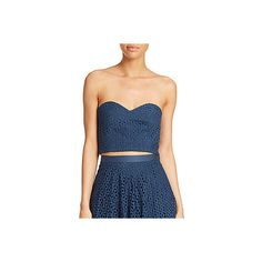 Tibi Hanae Eyelet Bustier Top ($110) ❤ liked on Polyvore featuring tops, blue, sweetheart neckline top, blue top, bustier tops, sweetheart top and floral bustier