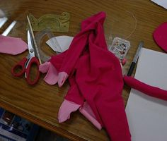 Using pink scraps for 1st round. No the smac! monkeys will not be pink.