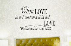 Wall Vinyl Decal Quote Sticker Home Decor Art Mural When love is not madness it is not love Pedro Calderón de la Barca Z71 WisdomDecalHouse http://www.amazon.com/dp/B00MK0YFXQ/ref=cm_sw_r_pi_dp_hEI5tb0X82MFJ
