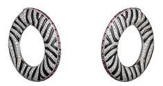 L'Odyssée de Cartier Parcours d'un Style 'Zebra' high jewellery earrings in white gold, onyx, garnets and diamonds.