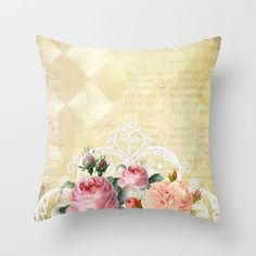 #pretty #romantic #beautiful #vintage #roses #rose #flowers #floral #oldletter #pillow Available in different #society6 #homedecor products too.